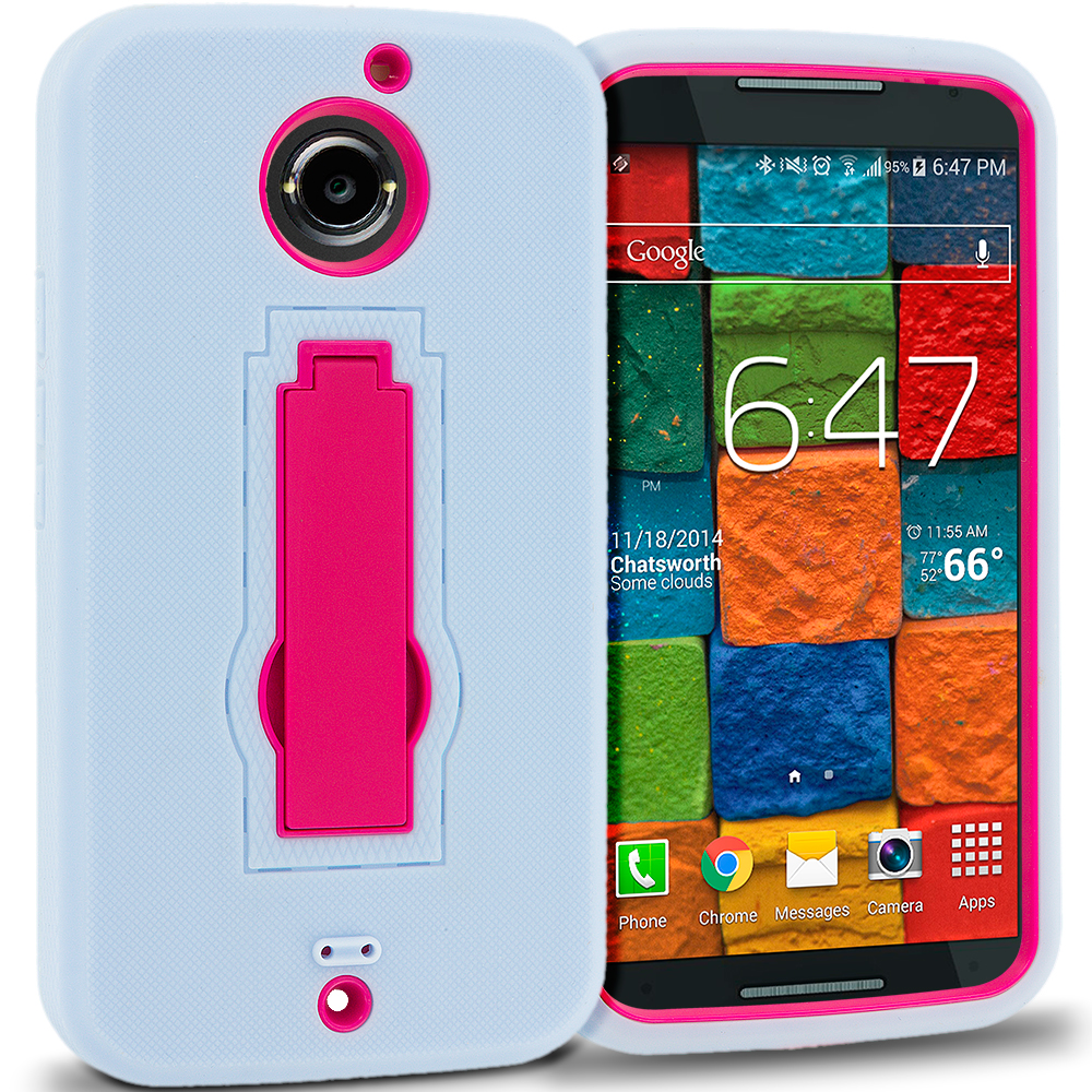 Motorola Moto X 2nd Gen Baby Blue / Hot Pink Hybrid Heavy Duty Hard Soft Case Cover with Kickstand