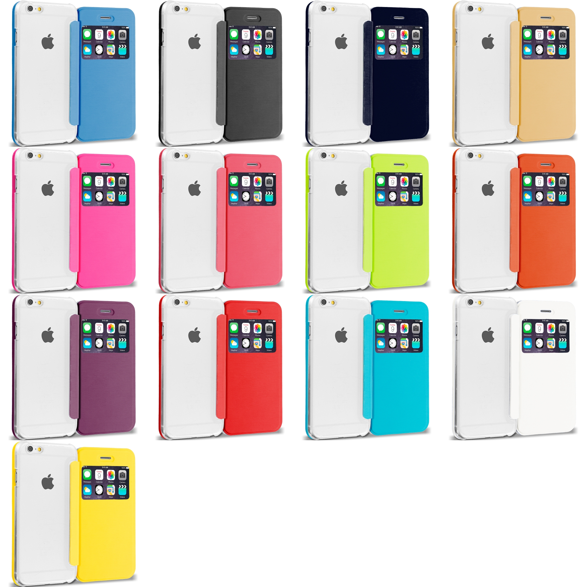 Apple iPhone 6 13 in 1 Bundle - Slim Hard Wallet Flip Case Cover Clear Back With Window