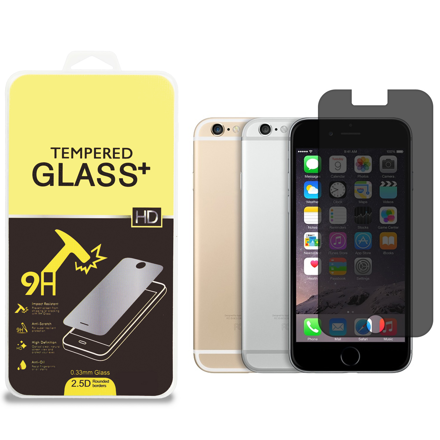 Apple iPhone 6 Plus 6S Plus (5.5) 360 Privacy Tempered Glass High Quality 0.33mm Screen Protector