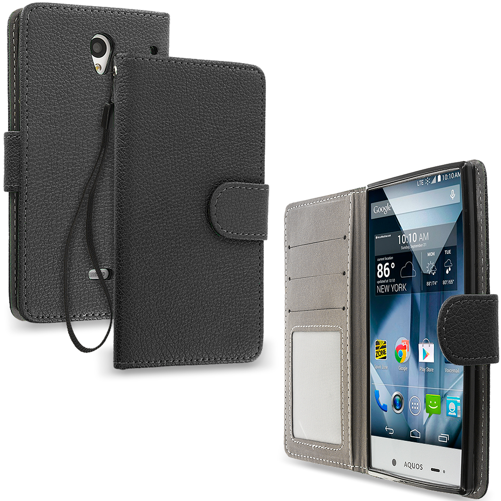 Sharp Aquos Crystal Black Leather Wallet Pouch Case Cover with Slots