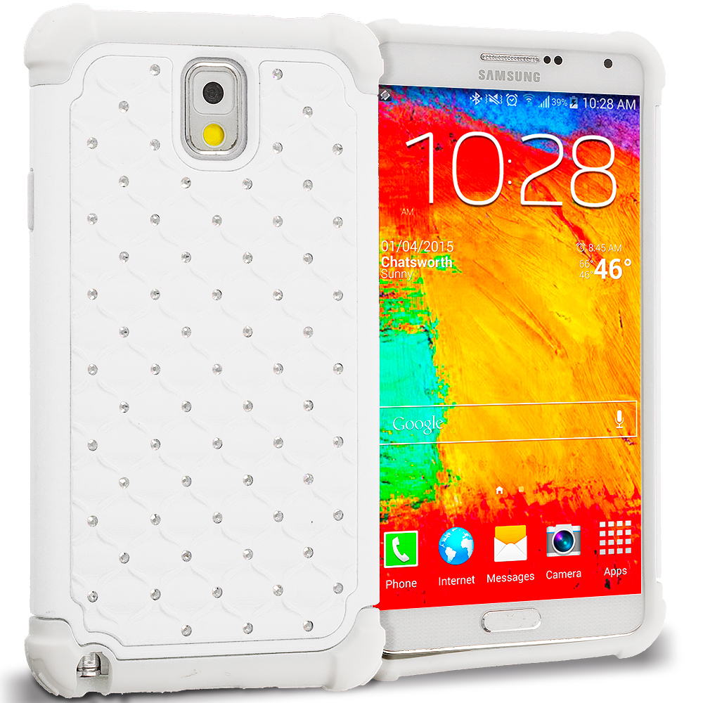 Samsung Galaxy Note 3 N9000 White / White Hard Rubberized Diamond Case Cover