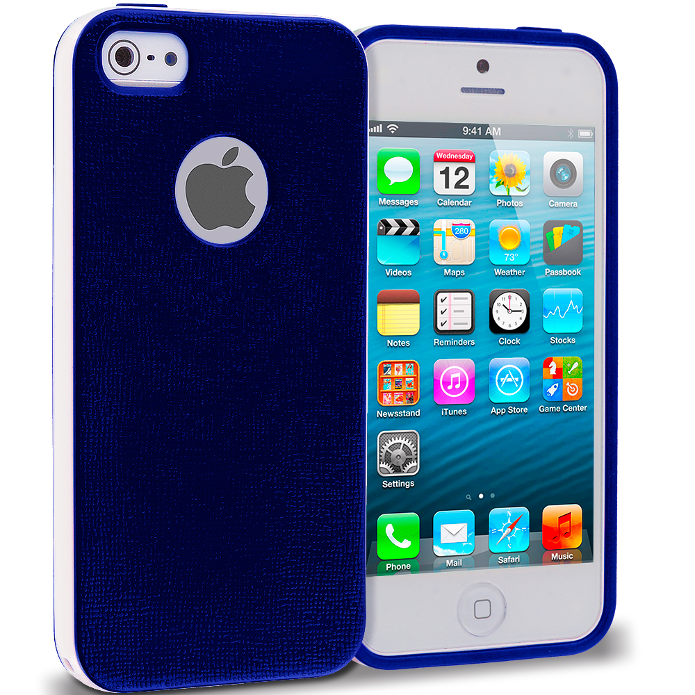 Apple iPhone 5/5S/SE Combo Pack : Blue Hybrid TPU Bumper Case Cover : Color Blue