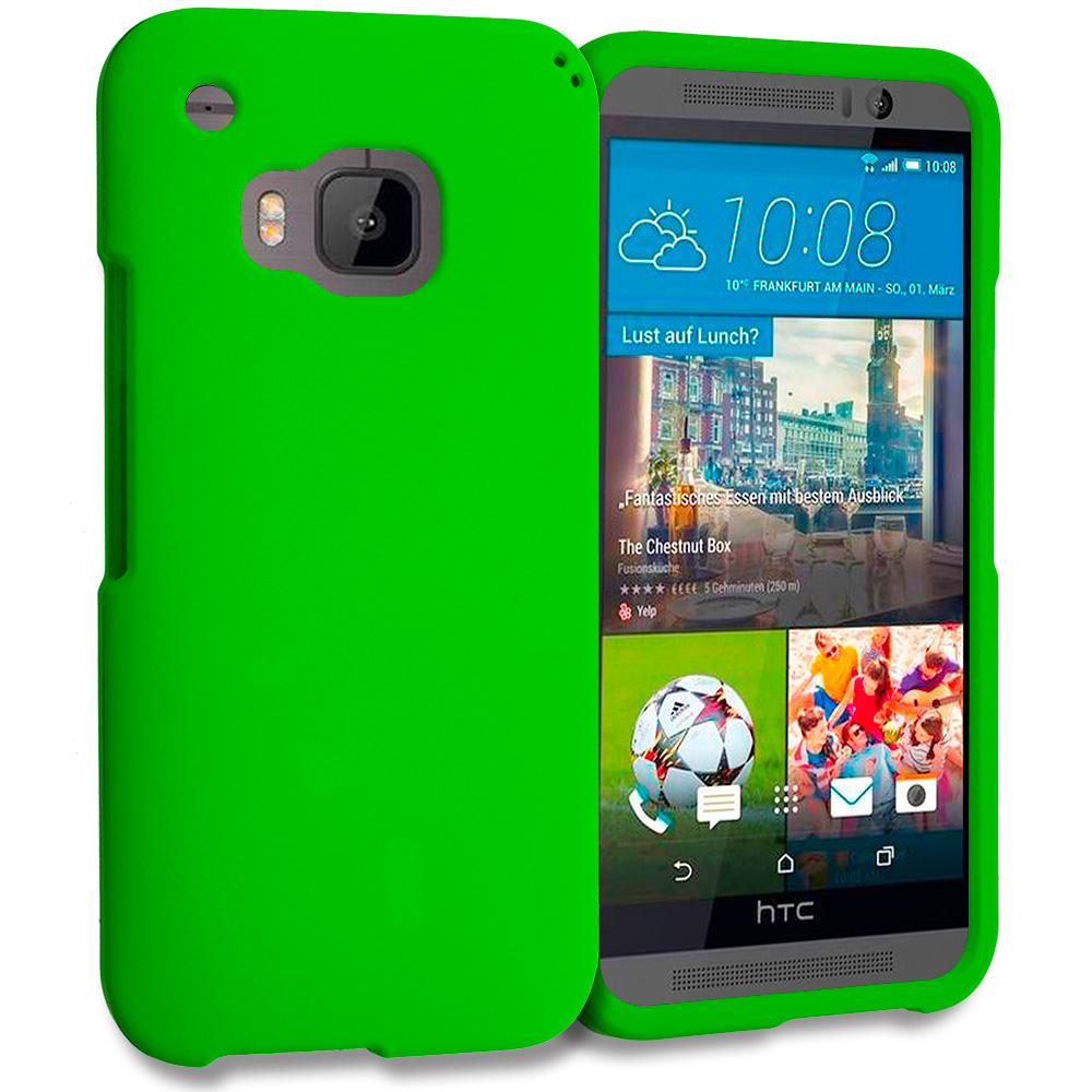 HTC One M9 Neon Green Hard Rubberized Case Cover