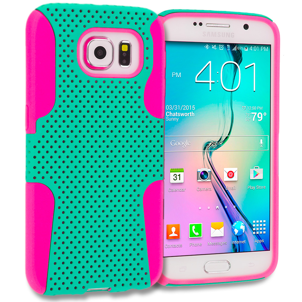 Samsung Galaxy S6 3 in 1 Combo Bundle Pack - Hybrid Mesh Hard/Soft Case Cover : Color Hot Pink / Mint Green