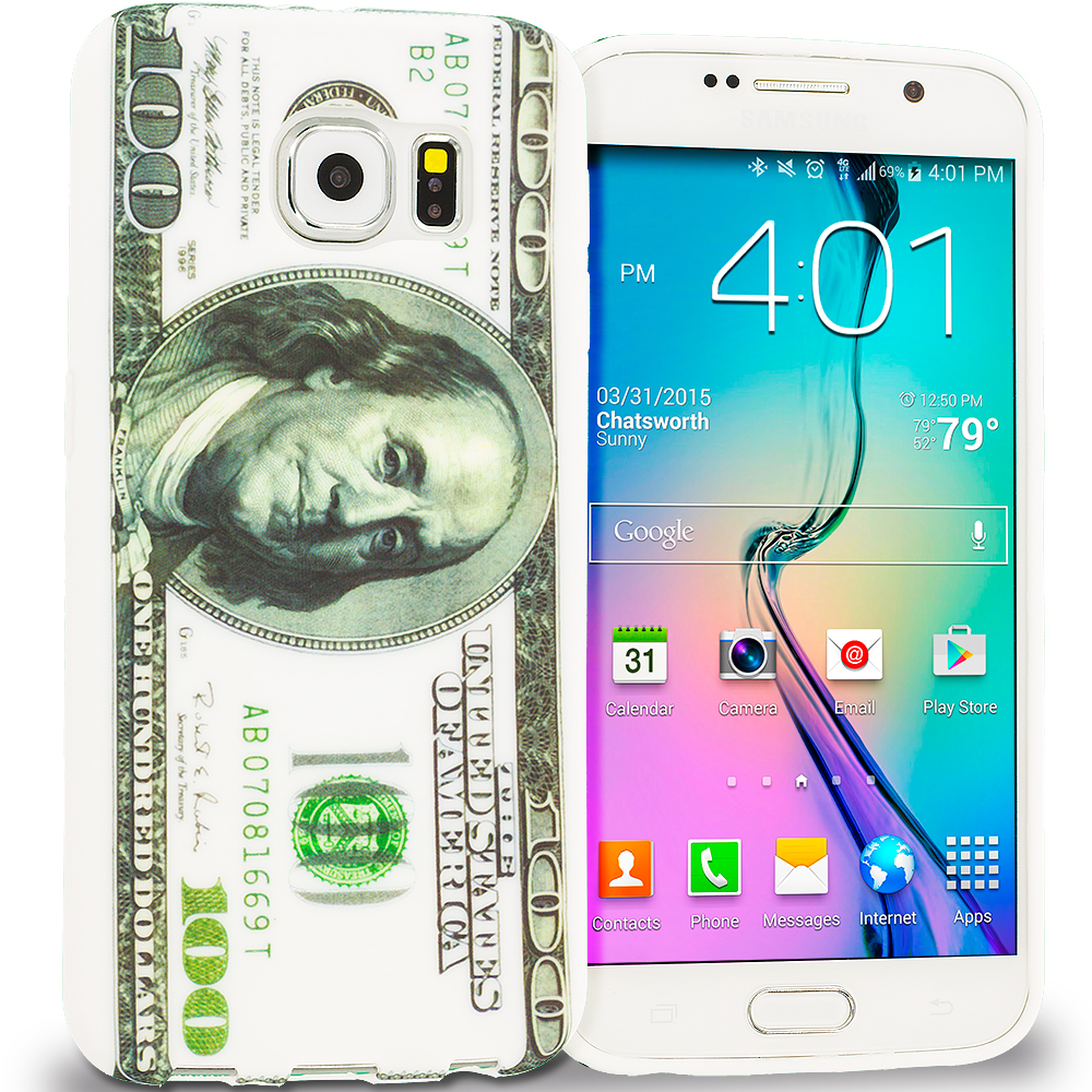 Samsung Galaxy S6 Hundred Dollars TPU Design Soft Rubber Case Cover