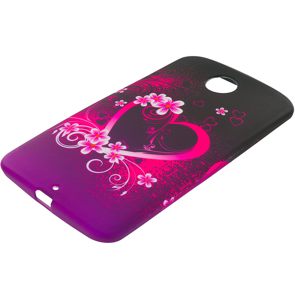 Motorola Google Nexus 6 Purple Love TPU Design Soft Rubber Case Cover