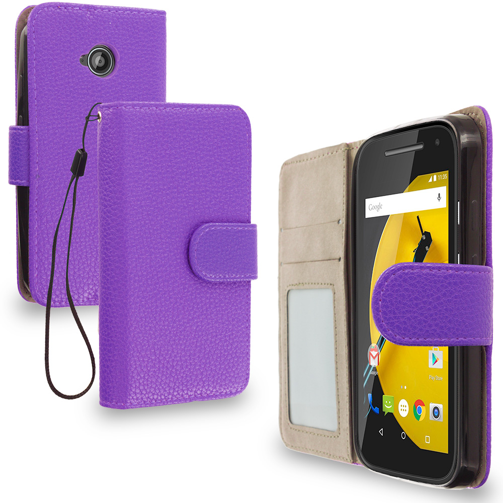 Motorola Moto E LTE 2nd Generation Purple Leather Wallet Pouch Case Cover with Slots