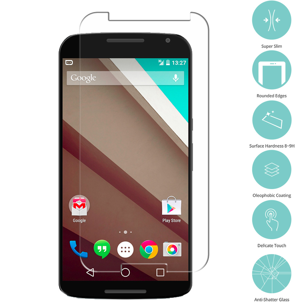 Motorola Google Nexus 6 Clear Tempered Glass Film Screen Protector Clear