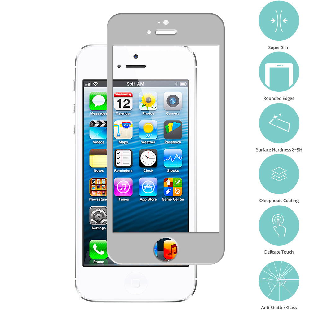 Apple iPhone 5 / 5S / 5C Combo Pack : Black Tempered Glass Film Screen Protector Colored : Color Gray