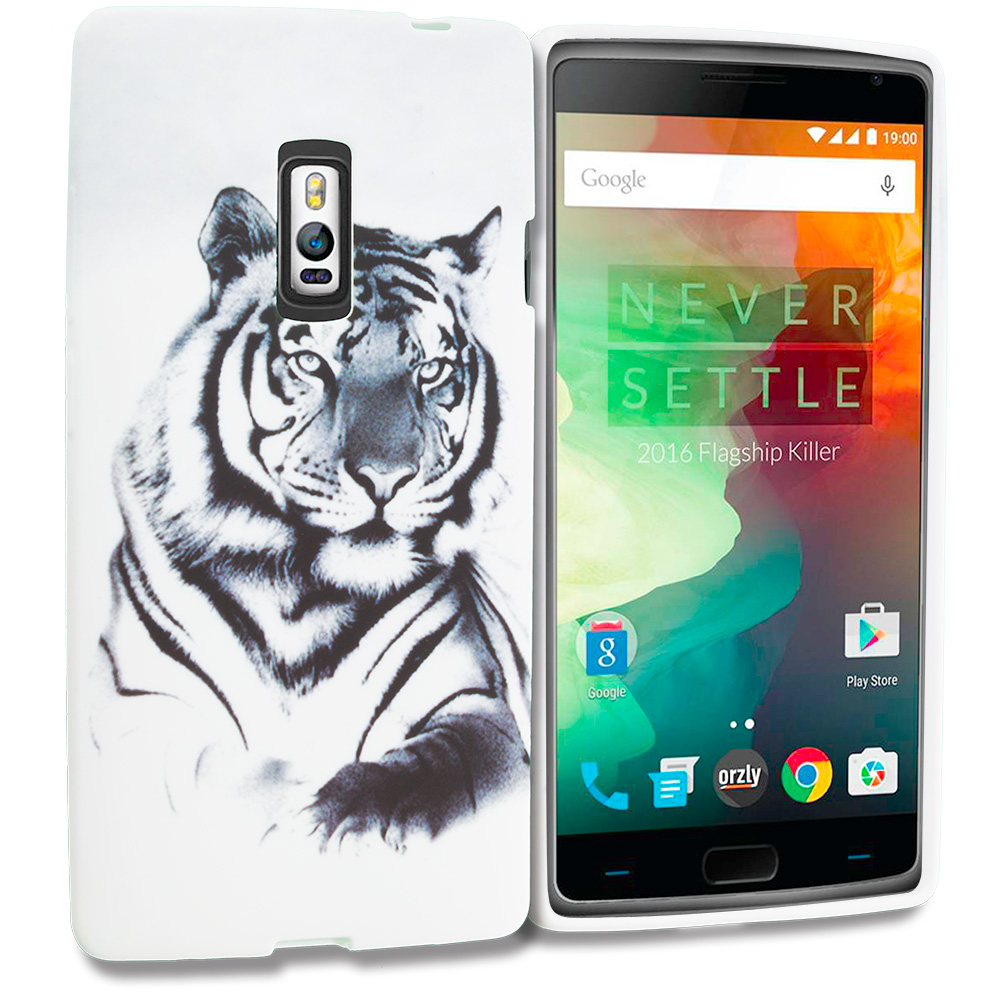 OnePlus 2 Two White Tiger TPU Design Soft Rubber Case Cover