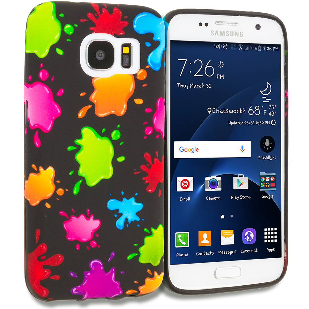 Samsung Galaxy S7 Combo Pack : Colorful Love on Black TPU Design Soft Rubber Case Cover : Color Colorful Splash