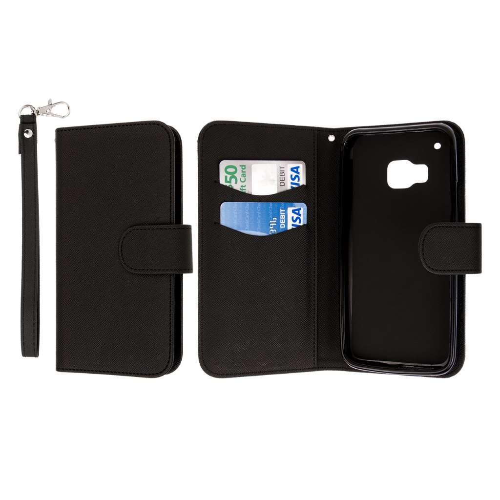HTC One M9 - Black MPERO FLEX FLIP Wallet Case Cover
