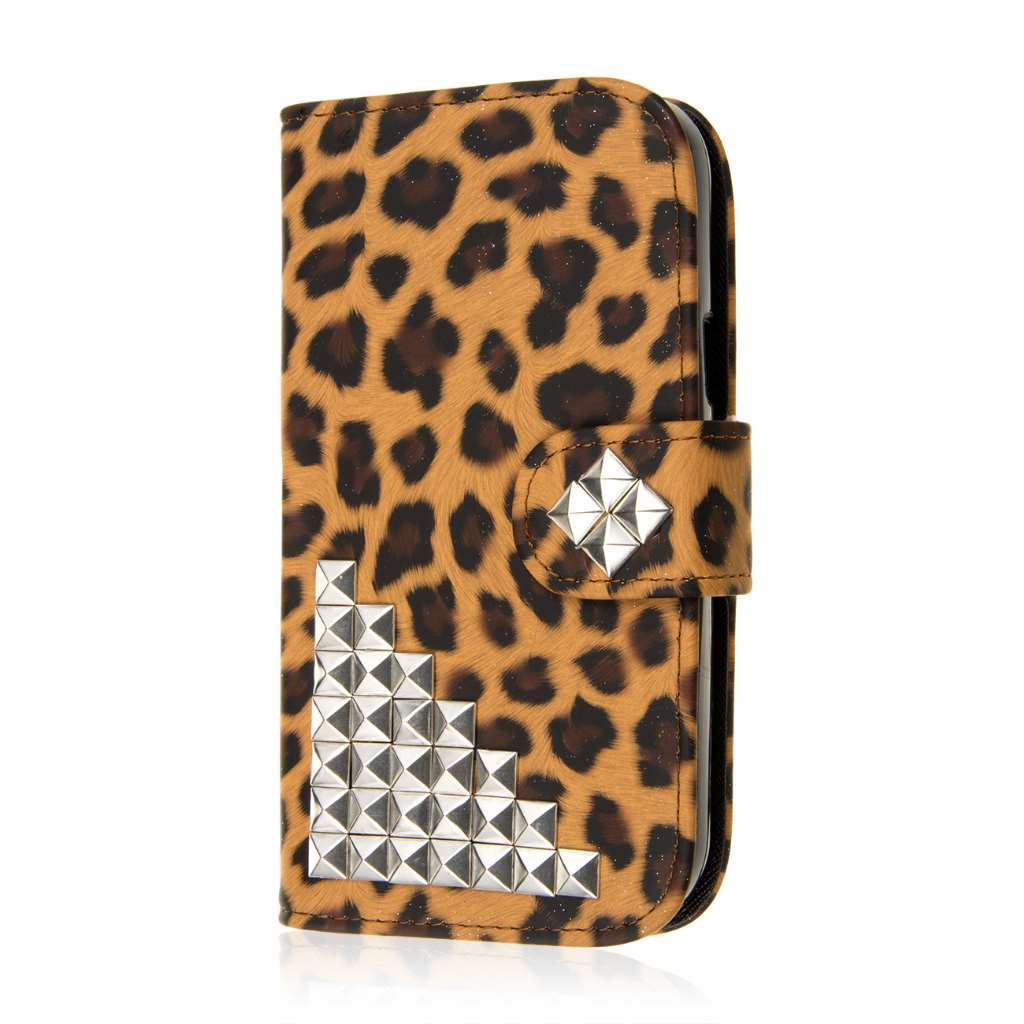 ZTE Grand S Pro - Studded Leopard MPERO FLEX FLIP Wallet Case Cover