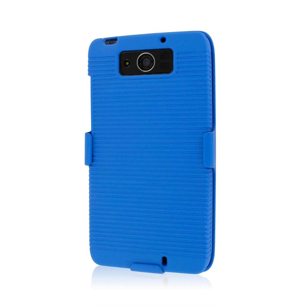 Motorola DROID ULTRA XT1080 MPERO 3 in 1 Tough Blue Kickstand Case Cover