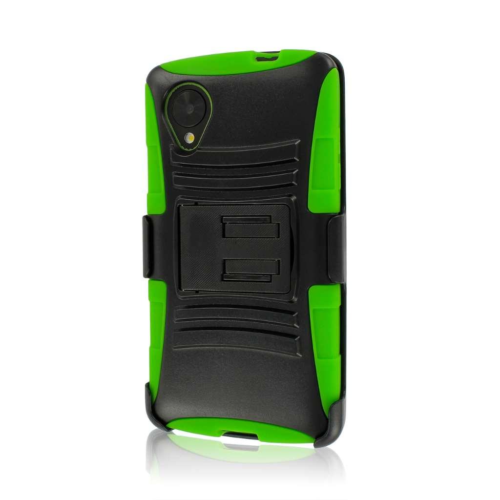 Google Nexus 5 - Neon Green MPERO IMPACT XT - Stand Case Belt Clip Holster