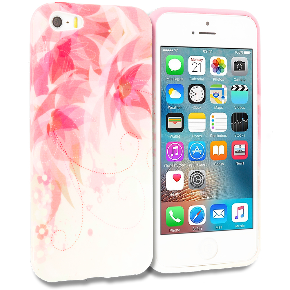 Apple iPhone 5/5S/SE Flower with Red Leaf TPU Design Soft Rubber Case Cover