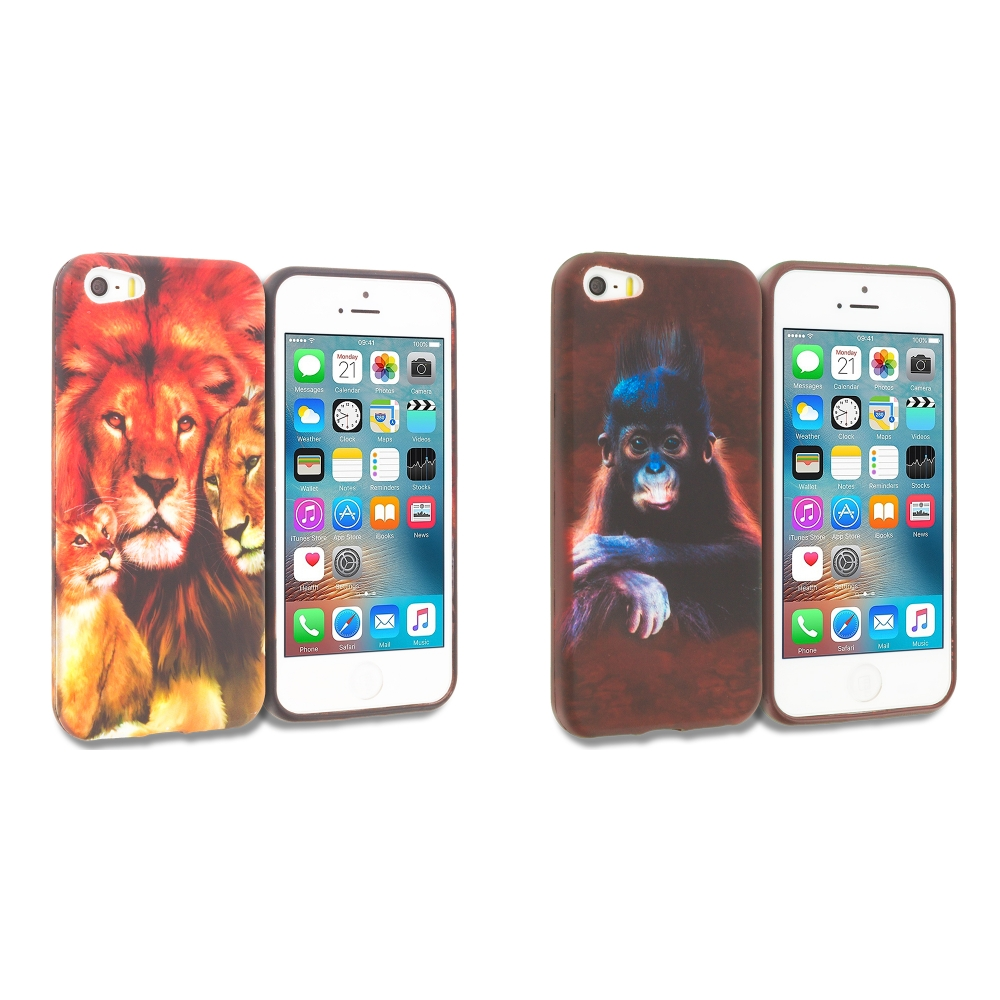Apple iPhone 5/5S/SE Combo Pack : Lion Family TPU Design Soft Rubber Case Cover