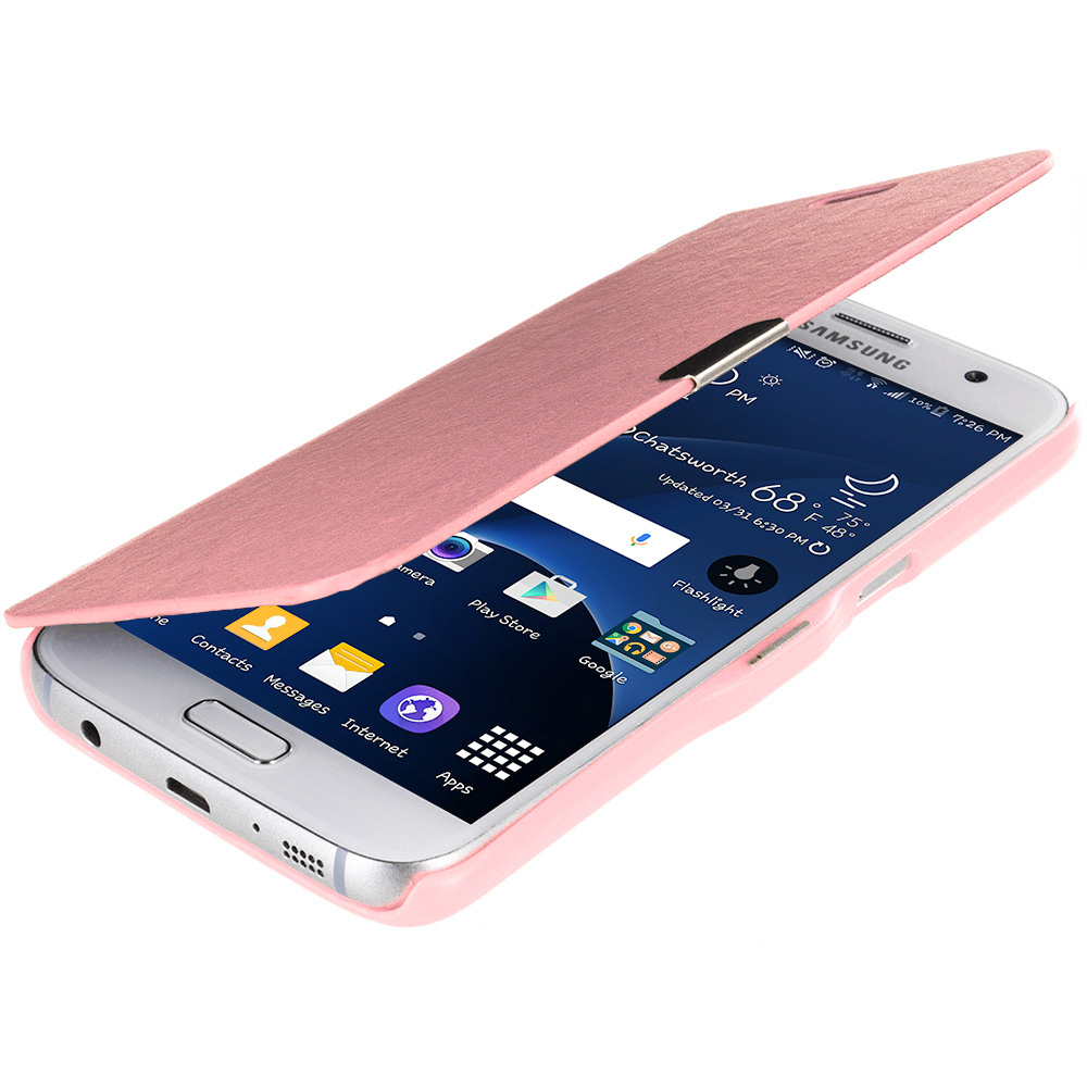 Samsung Galaxy S7 Combo Pack : White Magnetic Flip Wallet Case Cover Pouch : Color Light Pink