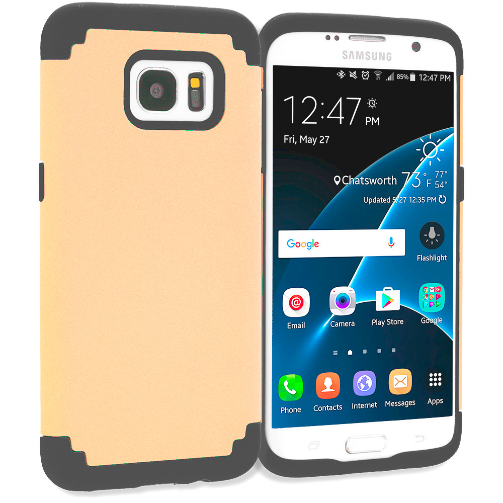 Samsung Galaxy S7 Edge Gold / Black Hybrid Slim Hard Soft Rubber Impact Protector Case Cover