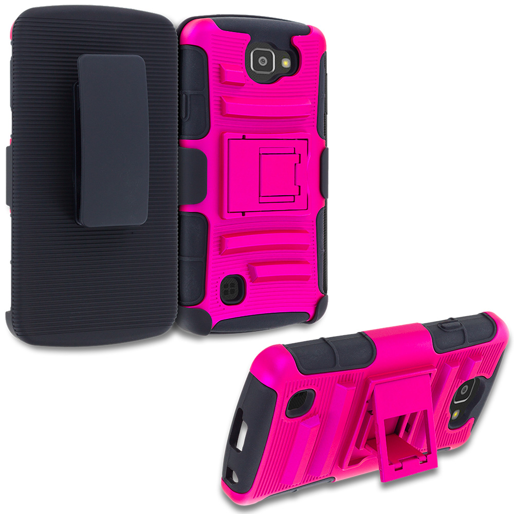 LG Spree Optimus Zone 3 VS425 K4 Hot Pink Hybrid Heavy Duty Rugged Case Cover with Belt Clip Holster