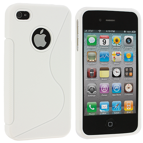Apple iPhone 4 / 4S White S-Line TPU Rubber Skin Case Cover