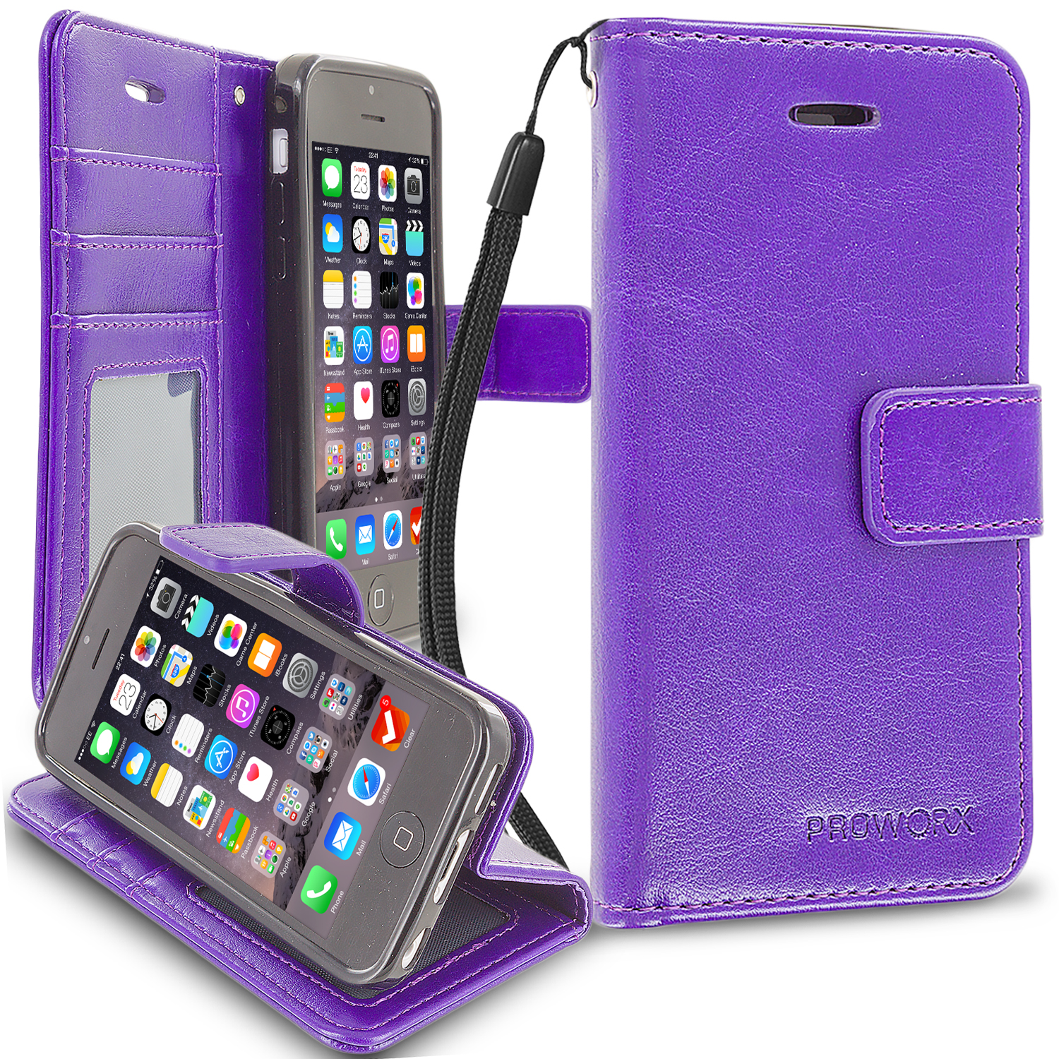 Apple iPhone 5C Purple ProWorx Wallet Case Luxury PU Leather Case Cover With Card Slots & Stand