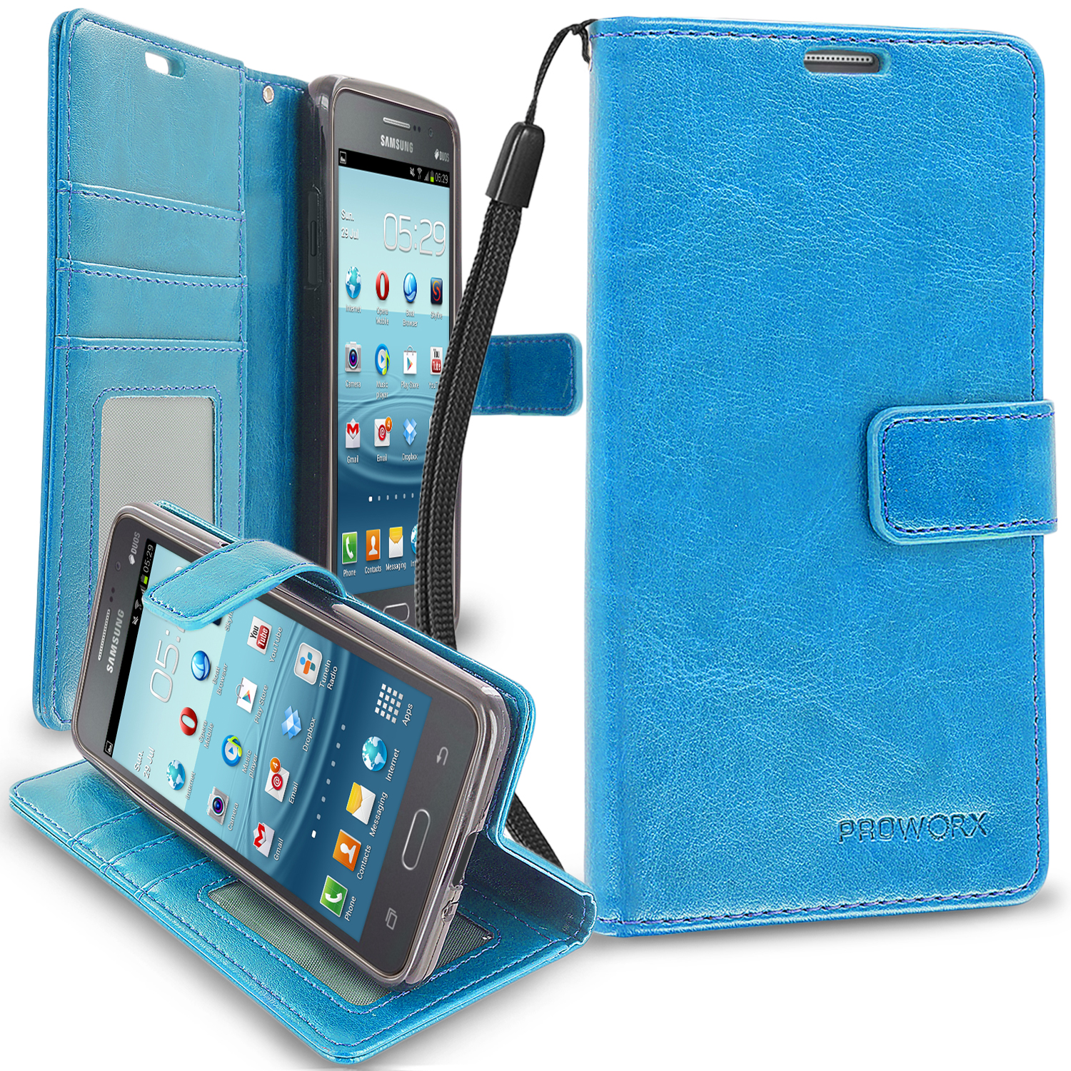 Samsung Galaxy Grand Prime LTE G530 Baby Blue ProWorx Wallet Case Luxury PU Leather Case Cover With Card Slots & Stand