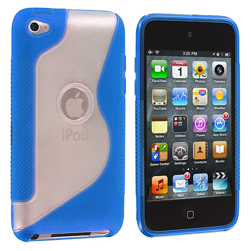 Apple iPod Touch 4th Generation Blue S-Line TPU Rubber Skin Case Cover