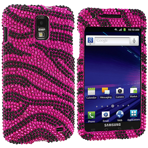 Samsung Skyrocket i727 Black / Hot Pink Zebra Bling Rhinestone Case Cover