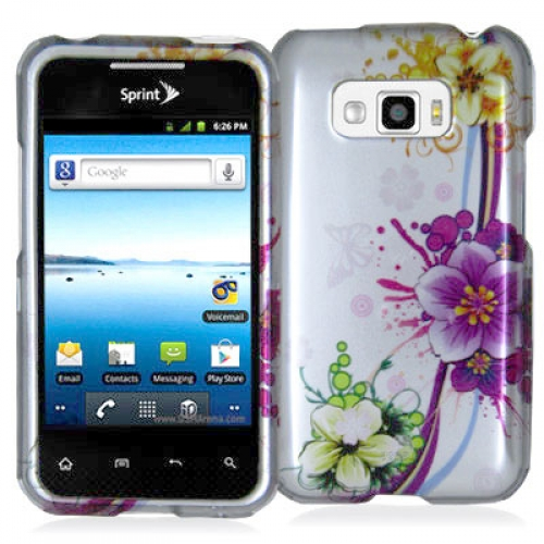 LG Optimus Elite LS696 Purple Flower Chain Design Crystal Hard Case Cover