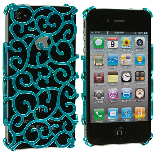 Apple iPhone 4 Blue Floral Crystal Hard Back Cover Case