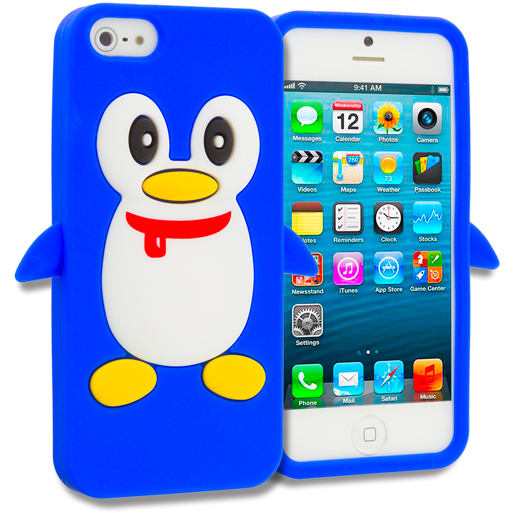 Apple iPhone 5 Blue Penguin Silicone Design Soft Skin Case Cover