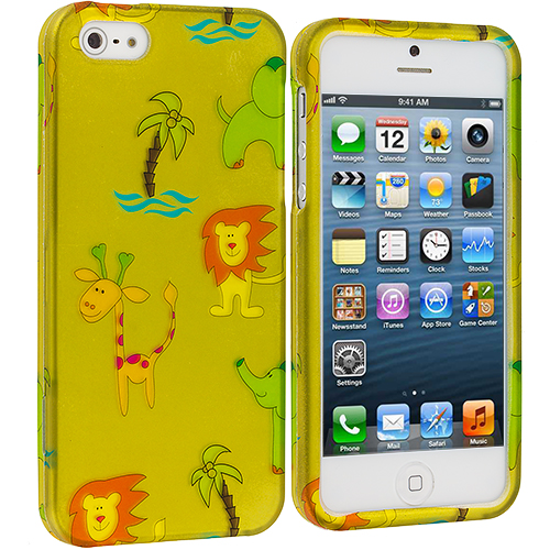 Apple iPhone 5/5S/SE Combo Pack : Cartoon Smile Hard Rubberized Design Case Cover : Color Zoo