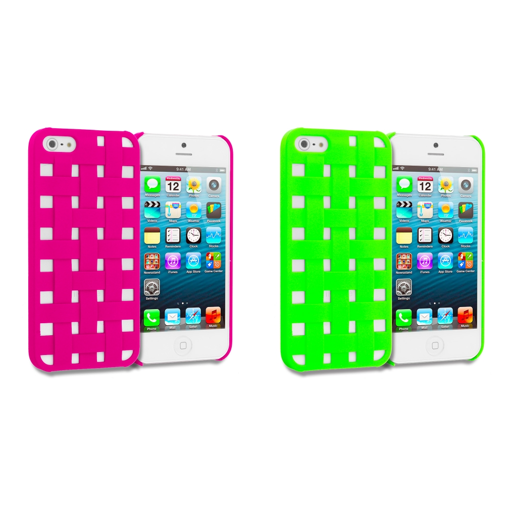 Apple iPhone 5/5S/SE Combo Pack : Hot Pink Handwoven Hard Rubberized Back Cover Case