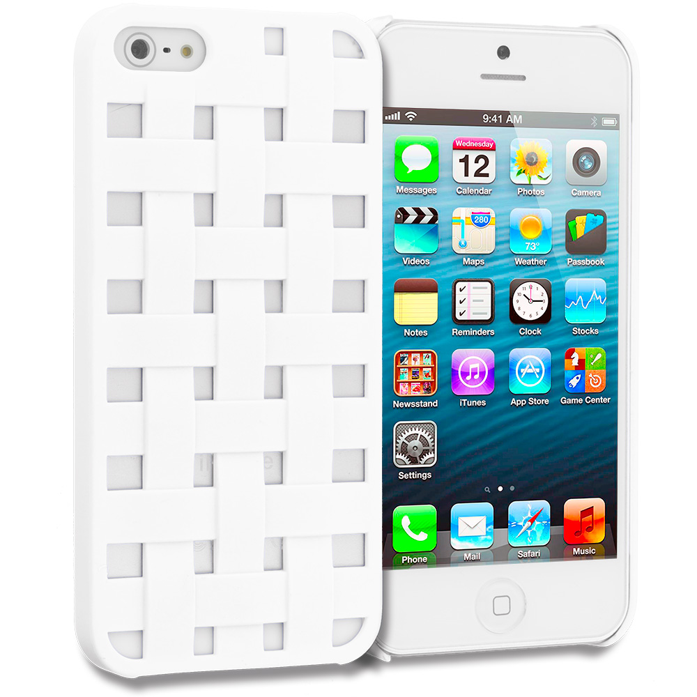Apple iPhone 5 White Handwoven Hard Rubberized Back Cover Case
