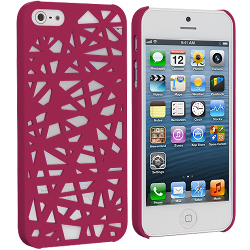 Apple iPhone 5/5S/SE Hot Pink Birds Nest Hard Rubberized Back Cover Case
