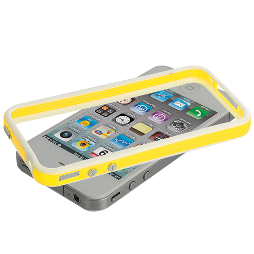 Apple iPhone 4 / 4S White / Yellow TPU Bumper with Metal Buttons