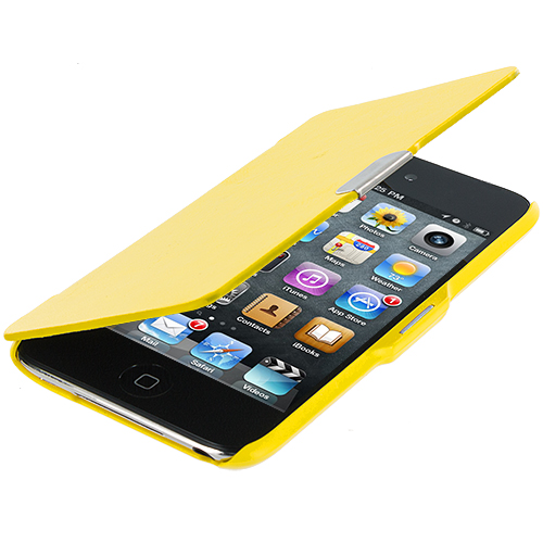 Apple iPod Touch 4th Generation Yellow Texture Magnetic Wallet Case Cover Pouch