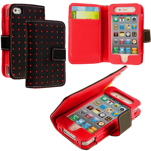 Apple iPhone 4 / 4S Red Dots Leather Wallet Pouch Case Cover with Slots