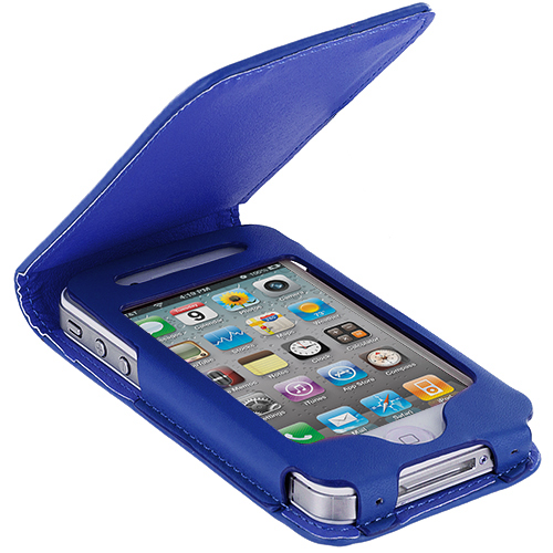 Apple iPhone 4 / 4S Blue Wallet Pouch Case Cover