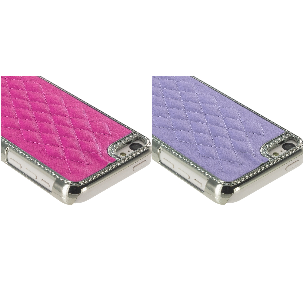 Apple iPhone 5C 2 in 1 Combo Bundle Pack - Hot Pink Purple Metal Quilted Hard/Soft Case Cover