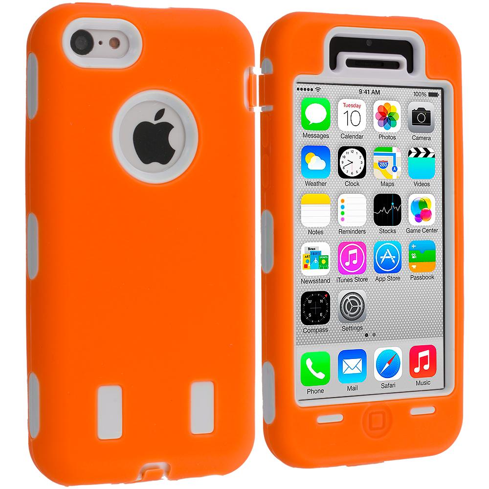 Apple iPhone 5C Orange / White Hybrid Deluxe Hard/Soft Case Cover