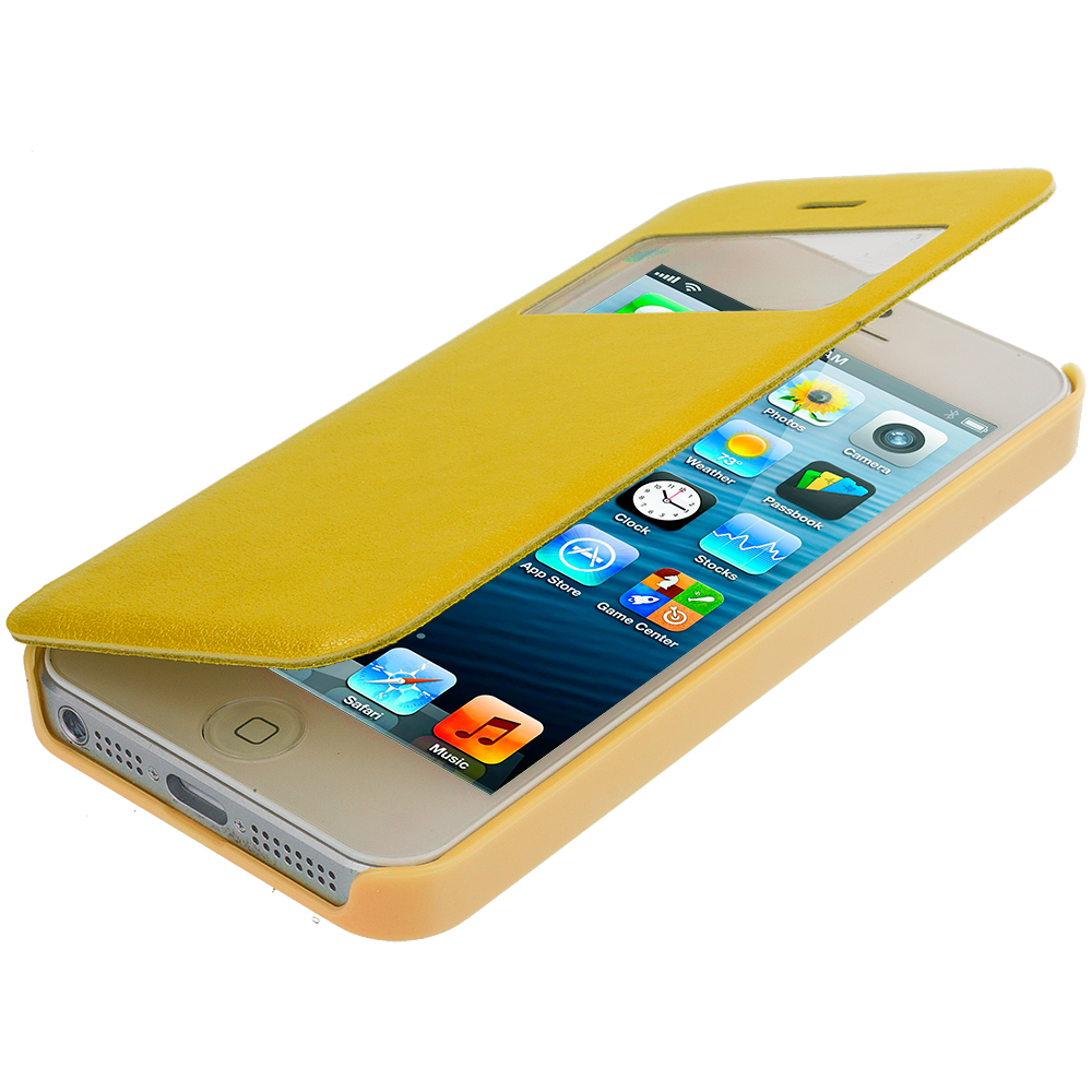 Apple iPhone 5 / 5S Yellow (Open) Magnetic Wallet Case Cover Pouch