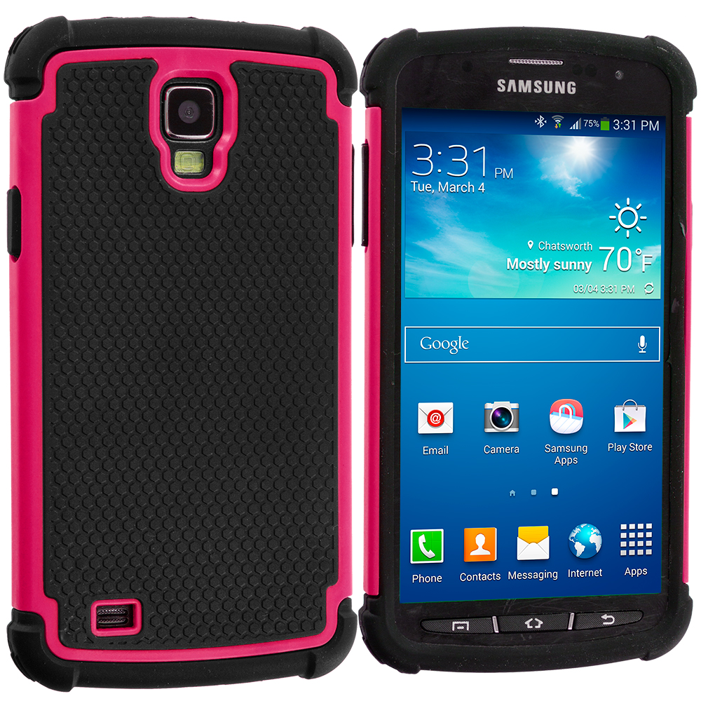 Samsung Galaxy S4 Active i537 Black / Hot Pink Hybrid Rugged Hard/Soft Case Cover