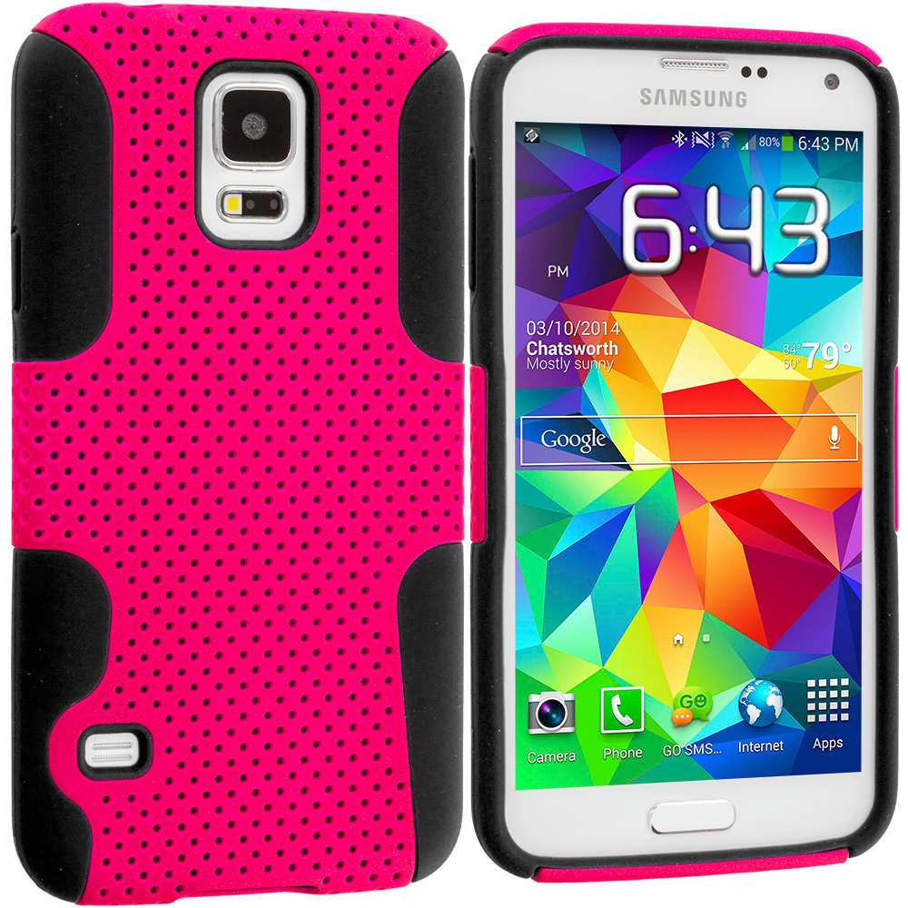 Samsung Galaxy S5 Black / Hot Pink Hybrid Mesh Hard/Soft Case Cover
