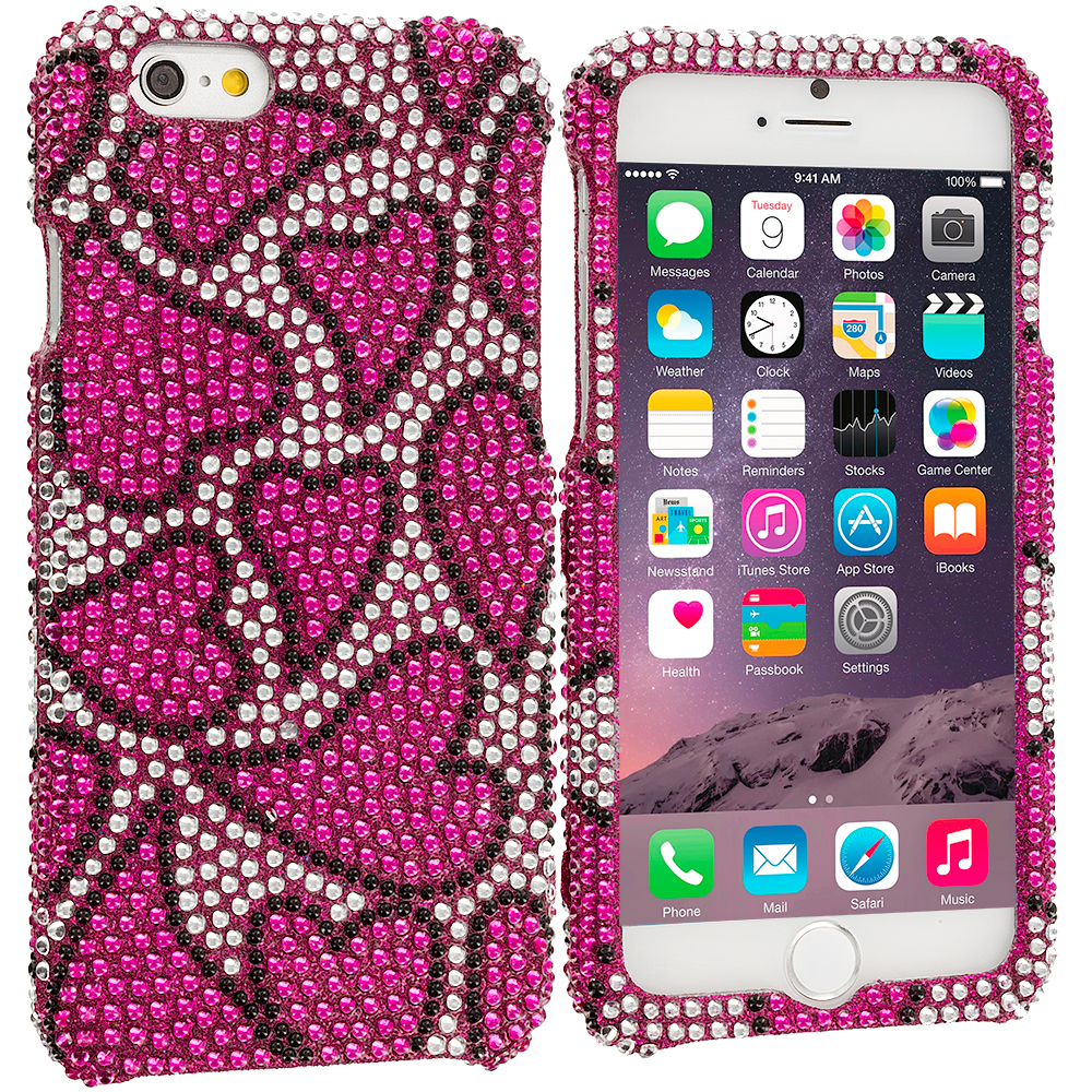 Apple iPhone 6 Plus 6S Plus (5.5) Nightly Hearts Bling Rhinestone Case Cover
