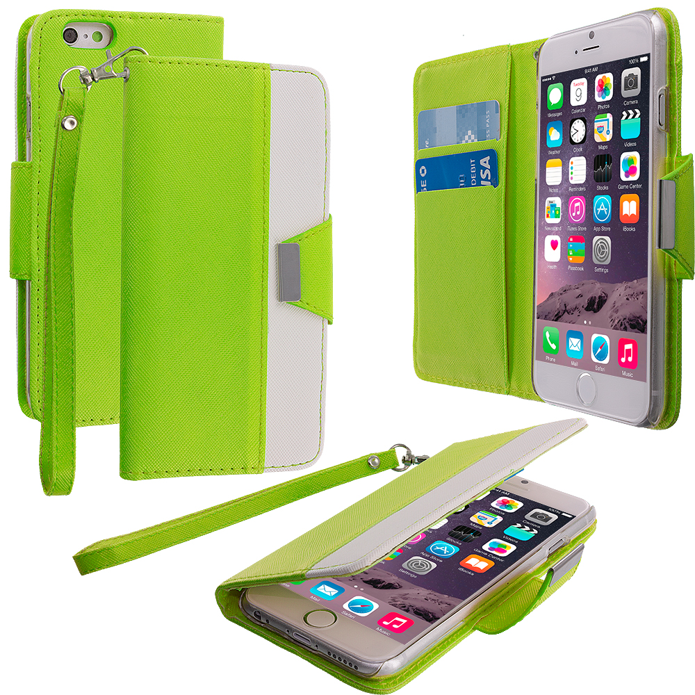 Apple iPhone 6 6S (4.7) Neon Green Wallet Magnetic Metal Flap Case Cover With Card Slots