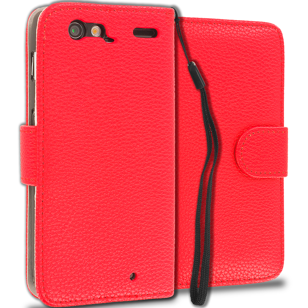 Motorola Droid Razr XT912 Red Leather Wallet Pouch Case Cover with Slots
