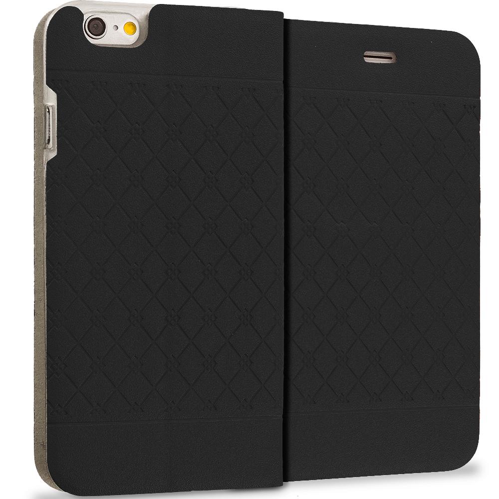 Apple iPhone 6 6S (4.7) 4 in 1 Combo Bundle Pack - Slim Wallet Plaid Luxury Design Flip Case Cover : Color Black