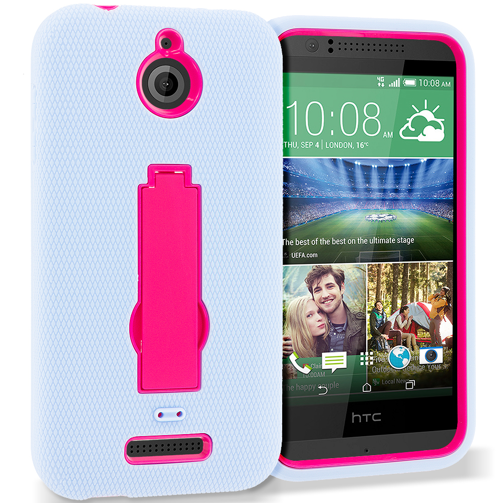HTC Desire 510 Baby Blue / Hot Pink Hybrid Heavy Duty Hard Soft Case Cover with Kickstand